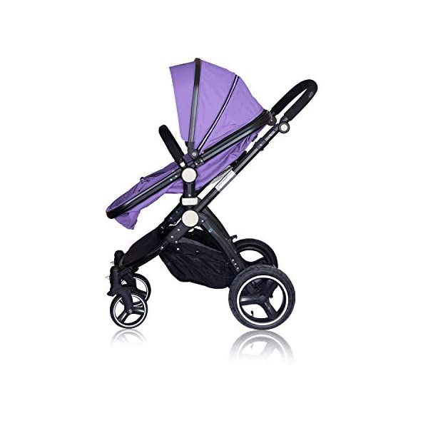 High Quality Baby Stroller IBEIS Prams 2 in 1 for Newborns European Folding Baby Carriage for 0 to 36 Months (Purple) IBEIS 360 degrees turn Easy fold-able button Tiltable (various angles) 2