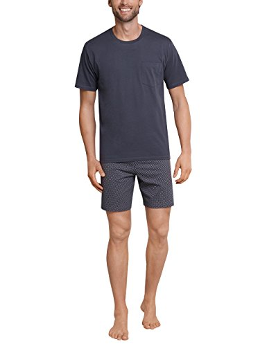 Schiesser Herren Kurz Zweiteiliger Schlafanzug, Grau (Anthrazit 203), Medium