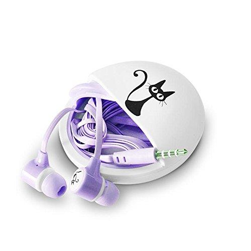 QearFun Stereo 3,5mm In Ear Katze Kopfhörer in-Ear mit Mikrofon mit Kopfhörer Aufbewahrung Fall für iPhone Samsung MP3iPod PC Musik