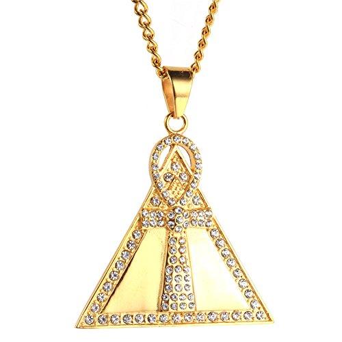 PAURO Herren Edelstahl Vergoldet Dreieck Ankh Kreuz Diamant Anhänger Halskette Hip Hop Cz Schmuck
