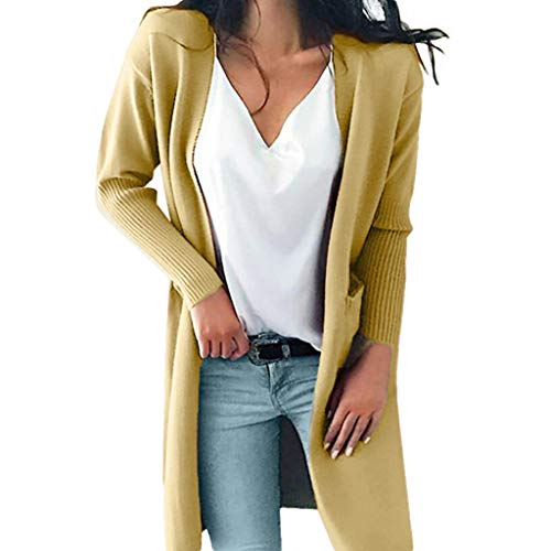 REALIKE Damen Elegant Einfarbig Taschen Langarm Strickjacke Vintage Patchwork Slim Gestrickt Mäntel Casual Lang Coat Mode Basic Jacket Trenchcoat Outwear Trench Winterjacke (S, Khaki)