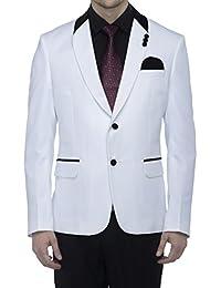 Favoroski Men's Polyester and Viscose Blazers - White