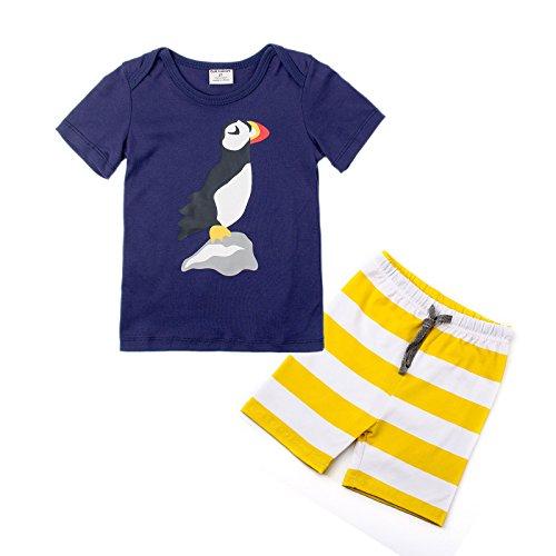 Amooy DiZi Little Boys Pajama Sets Cartoon Bird Short Sleeve Sleepwear 100% Cotton