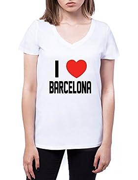 I Love Barcelona Mujers V-Neck T