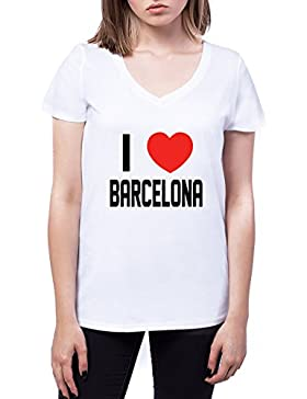 I Love Barcelona Mujers V-Neck T-Shirt