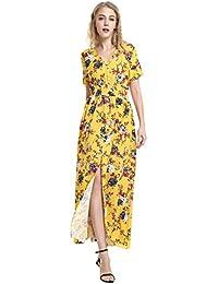 5037e68def8 STYLE Femme Robe Été Chic Robe de Plage Floral Robe Bohème Imprimé Robe  Boho Maxi Robe Longue Femme Taille Elastique Sexy…