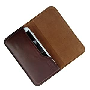 i-KitPit : Genuine Leather Flip Pouch Case Cover For Sony Xperia J (BROWN)