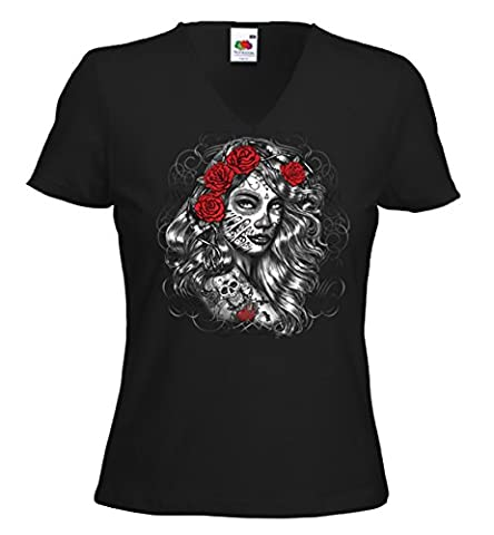 Hot Rod femme T-Shirt Girl Rose Rockabilly Tattoo Pinup V8 Rat Rod Gr.M