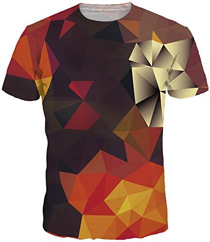 TDOLAH Herren Slim Fit 3D Farbspritzer Druck Muster T-Shirts Kurzarm Top (L (TAG XL/2XL ), Kaleidoskop)