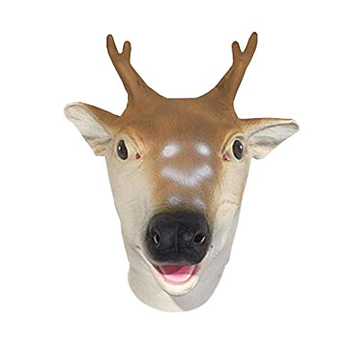 Hirsch Deluxe Latex Maske - Lixinfushi Halloween Sikahirsch Maske, Animal Head