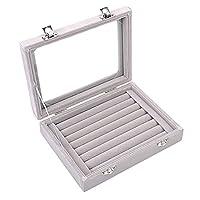 Zice 7 Slot Velvet Jewelry Rings Display Tray Earring Storage Case Jewelry Storage Box
