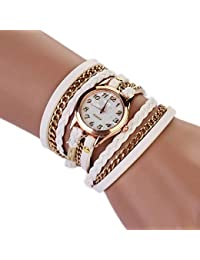 Reloj Pulsera Envoltura de Cuero Estilo Retro Elegante para Mujer (Blanco)