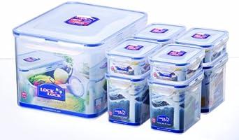 Lock&Lock HPL838SA Lot de 8 Boîtes Rectangulaires emboîtables Fraîcheur Plastique