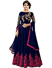 Women's Blue Satin Semi-stitched Havy Embroidered work Gown With Duptta (Free-Size)