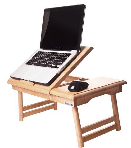 Comfortable Notebooktisch Laptoptisch Laptop Ständer Halter Bettisch Klapptisch Notebookständer 15 + Schublade,Holz, Laptoptisch fürs Bett fürs Sofa, Klappbar, Frühstückstisch -