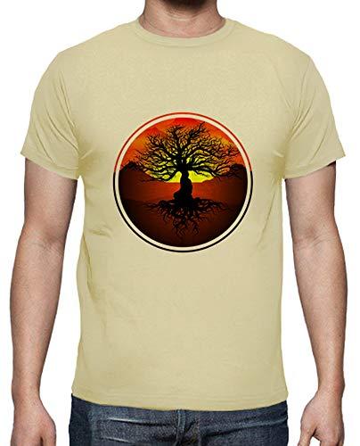 latostadora - Camiseta Arbol de la Vida para Hombre Crema M