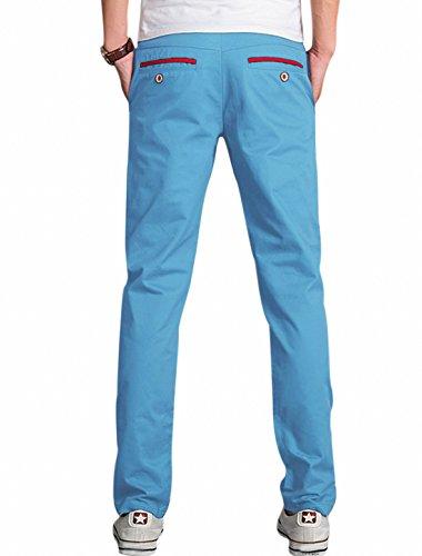 Hommes Tour De Taille Moyenne Braguette Zip Déco Bouton Contraste Couleur Pantalon Décontracté Bleu Clair