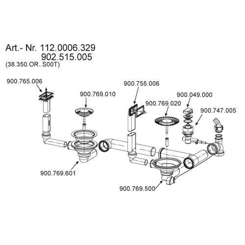 Ab- / Überlaufgarnitur 3 1/2 Zoll für FRANKE Spüle Active Kitchen 654 / AKX 654 mit Integralablauf / Ersatzteil / Ablaufverbindung