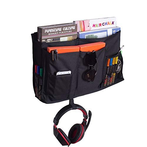 HGJ68-E - Organizador de mesilla de noche con 8 bolsillos para dormitorio, litros, cama, TV, mando a distancia, soporte para bebé, gato, cochecito de bebé, pañales y portavasos, negro, 19.7X11.8inches