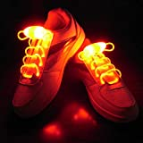 Suncentech Cordones de Zapatos Luminosos 2 Pares Ajustable LED Cordones de Zapatos, Novedad Fiestas Decoración de Disfraces (Naranja)