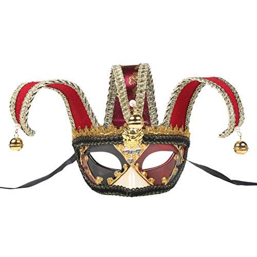 Kostüm Jester Maske - BESTOYARD Venezianische Halbmaske Jolly Jester Maske Karneval Kostüm Maskenade Fancy Ball Dress Up Maske (Rot)