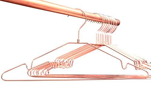 Premium Qualität - platz-sparende Kleiderbügel Kupfer/Rose-Gold, glänzend, 10er-Set, für Garderobe, Kleiderschrank und Showroom. Für Hemden, Blusen, Wäsche. ORIGINAL Buy Emotions (Drehbarer Haken)