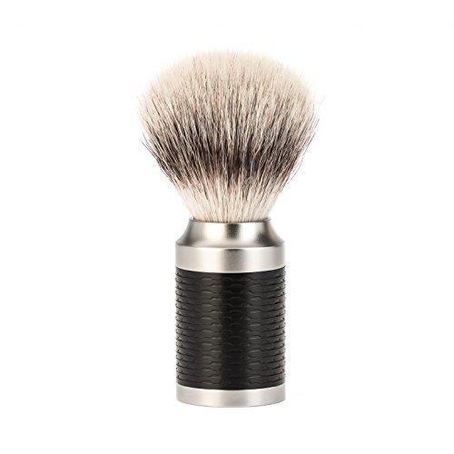 MUHLE MÜHLE Rasierpinsel Silvertip Fibre, Griff aus rostfreiem Stahl/Mattschwarz -