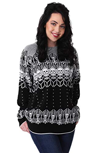 (FUN Wear Black and White Skeleton Adult Ugly Halloween Sweater X-Small)