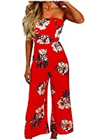 Tootlessly Womens Sexy Floral Printed Backless Jumpsuit Playsuit AS1 M