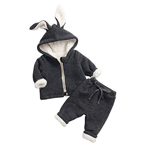 Babykleidung, Marlene Kinder Mädchen Jungen Kaninchenohren Mit Kapuze Warme Mantel Tops + Pants ()