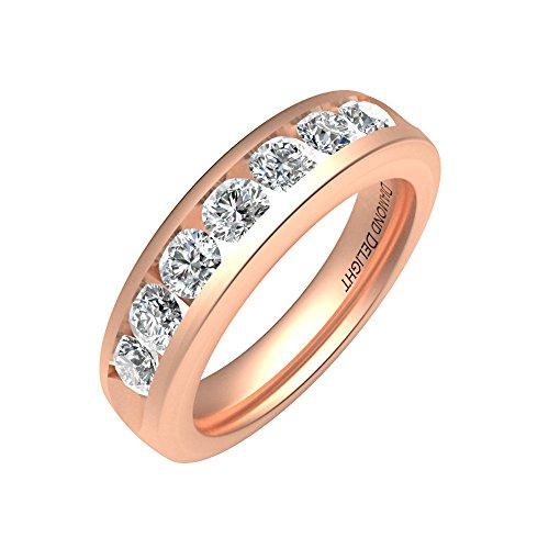 Diamond Delight da donna 18 K, 7 canali di pietra, SI1-Anello nuziale SI2, 3/4 k) e Oro rosa, 9,5, cod. RG30290-SI1SI2-18KP-5