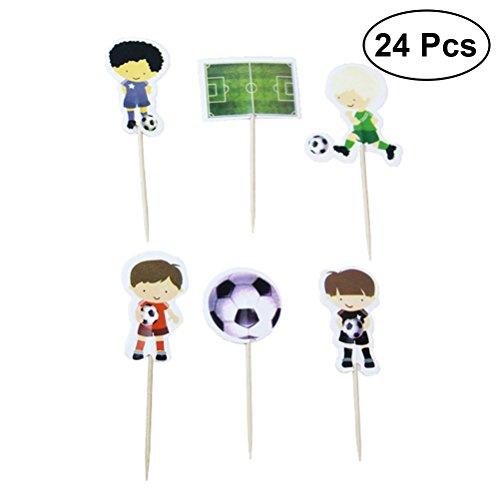 BESTOYARD 24 stücke Cartoon Spielen Fußball Kuchen Toppers Sport Jungen Party Cupcake Toppers Picks Kinder Geburtstag Familie Party Dekoration Lieferungen