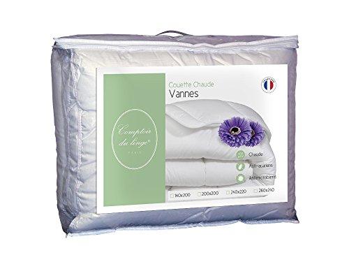Comptoir du linge CDLCULHA400220 Vannes Couette chaude 400g Polyester Blanc 240 x 220 x 5 cm