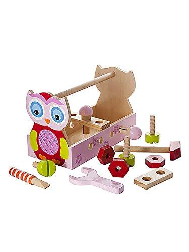Mousehouse Gifts Holzspielzeug Eulen Werkzeugkasten für Mädchen