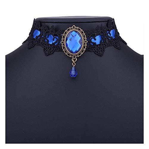 MSSZH Halskette New Lace Diamond Halskette Gothic Drop Shaped Anhänger Halskette Halloween Day, - Halloween-gesetze 10