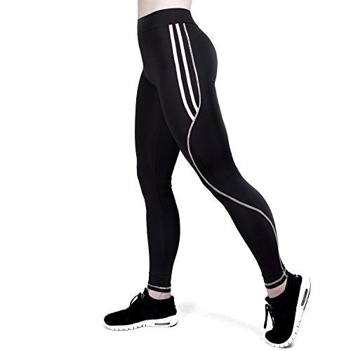 GoVIA Leggings Donne pantaloni di corsa Mesh con inserti in rete Fitness Yoga pantaloncini sportivi 4101 Bianco