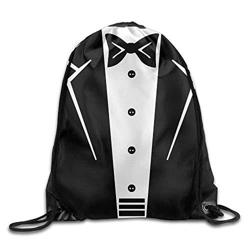 Tragen Bow Tie Tuxedo (Tuxedo with Black Bow Tie Print Drawstring Backpack Rucksack Shoulder Bags Gym Bag Sport Bag)