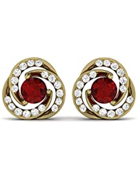 LOLLS Solid 10KT Gold 2.42 CT Red Ruby & Real Diamond Round Cut Halo Stud Prong Set Earrings [LOLLS_SOER0085A_...