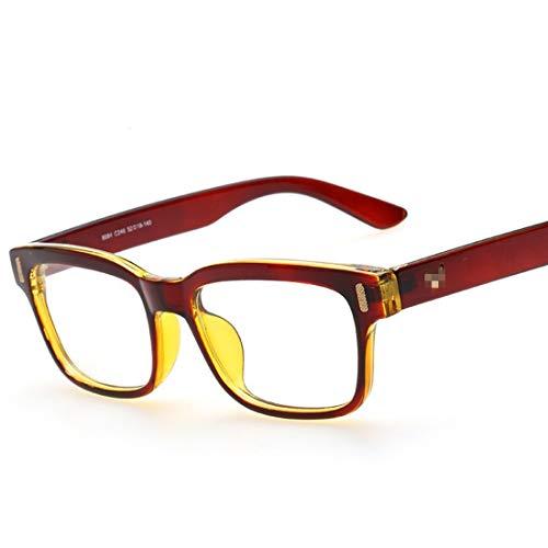 Sakuldes Quadratische Flache Brillenrahmen Retro Brillenrahmen Brillenrahmen Brillenrahmen Brillenbügel Nicht verschreibungspflichtige Brille Augenbrille braun