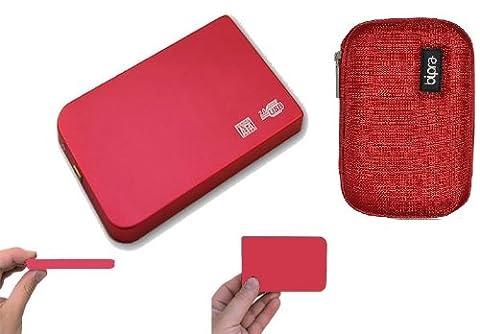 Disque dur externe 160Go Portable USB Disque de rangement + EVA Étui Rouge de protection avec (2years de rechange de Go