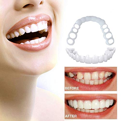Veneers Dentures Teeth Whitening Instant Perfect Smile Top and Bottom  Comfortable Snap On Fake Teeth Cover Simulated Teeth for Men Women (2pcs)