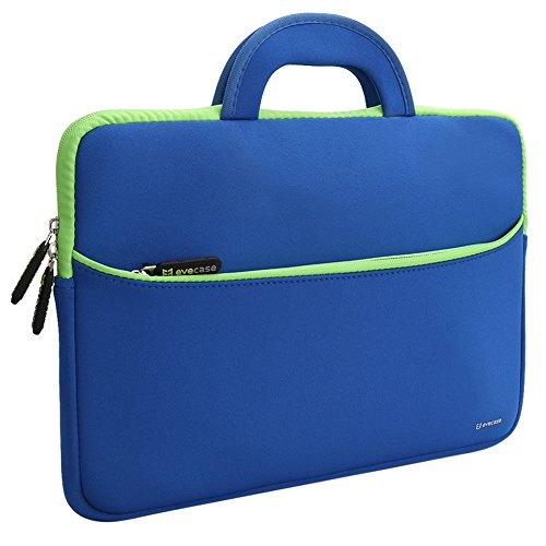 Laptophülle, Evecase Universal 13.3 Zoll Neopren Laptop Schutzhülle mit Vorderseitigem Zubehörfach für Notebook Macbook Ultrabook Chrombooks Tablet - Blau / Grün Blaue Mac Laptop