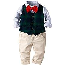 7d068f2440 HANMAX Bekleidungsset Kinder Junge Festlich Hemd mit Fliege + Weste + Hose  Kleinkinder Gentleman Set Baby