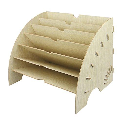 A4 kreativ Sortierelement Briefablage Ablagekorb Holz Unterlagenablage Ablage Magazin Ordnungssystem mit 6 Fächer (Weiß A)