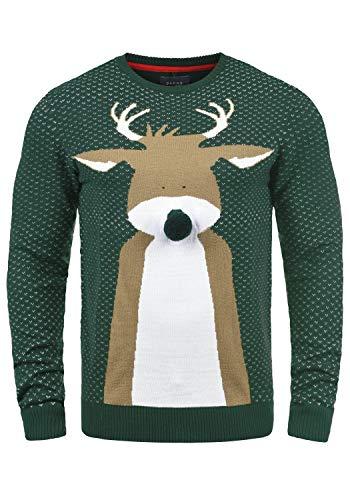 Blend Rudolph Herren Strickpullover Weihnachtspullover Mit Rundhalsausschnitt, Größe:M, Farbe:Pine Green/Nose (77030)