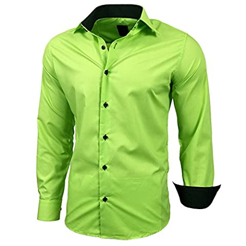 Herren Kontrast Basic Hemden Business Freizeit Langarm Anzug Hochzeit Hemd R-44, Farbe:Grün;Größen:L
