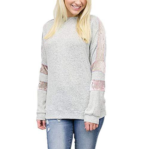 Preisvergleich Produktbild Sannysis Damen Pullover Langarmshirt Elegant Frauen Casual Streifen Patchwork Bluse Langarm Damen Pullover Tops Shirt