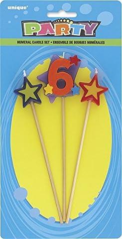 Unique Party - 34046 - Lot de 3 Bougies d'Anniversaire de Numéro 6 - Étoilées