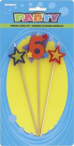 Unique Party - 34046 - Lot de 3 Bougies d'Anniversaire de Numéro 6 - Étoilées 0011179340460
