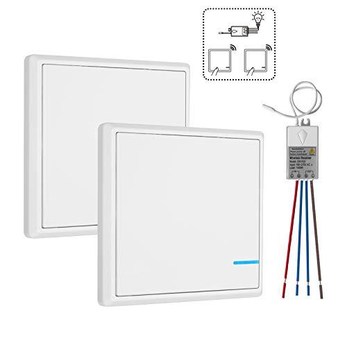TSSS Dual Funkschalter Lichtschalter mit Empfänger LED Anzeige Licht Set - Außen 600m Drinnen 40m - Schnell erstellen Ein/Aus Keine Leitungsverlegung - RF 433Mhz Fernbedienung LED Lampen Birne -